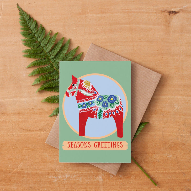 Dala Horse Christmas Card