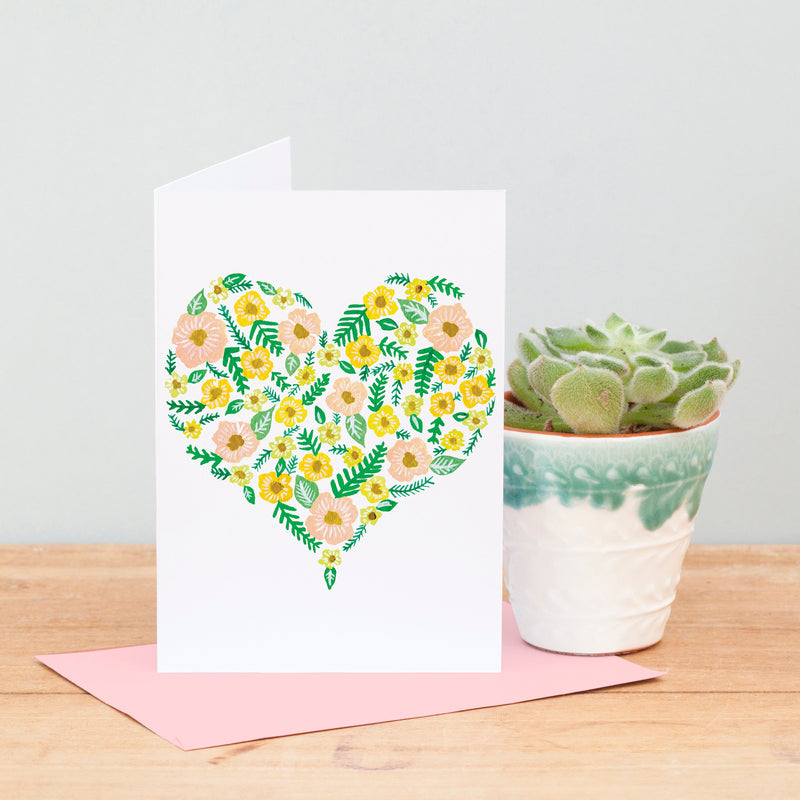 Floral Heart Print Greeting Card