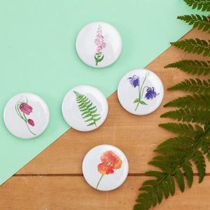 British Wild Flower Fridge Magnet Set - Pack of 5
