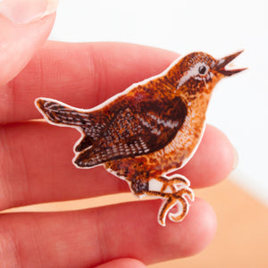 Wren Shrink Plastic Resin Brooch