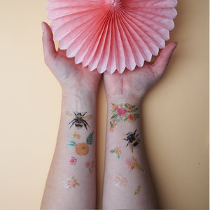 Bee and Flower Temporary Tattoo Pack