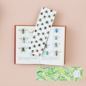Bee & Fern Pattern Double-Sided Bookmark