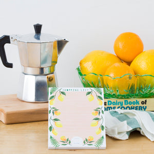 Magnetic Shopping List Notepad - Lemon Print
