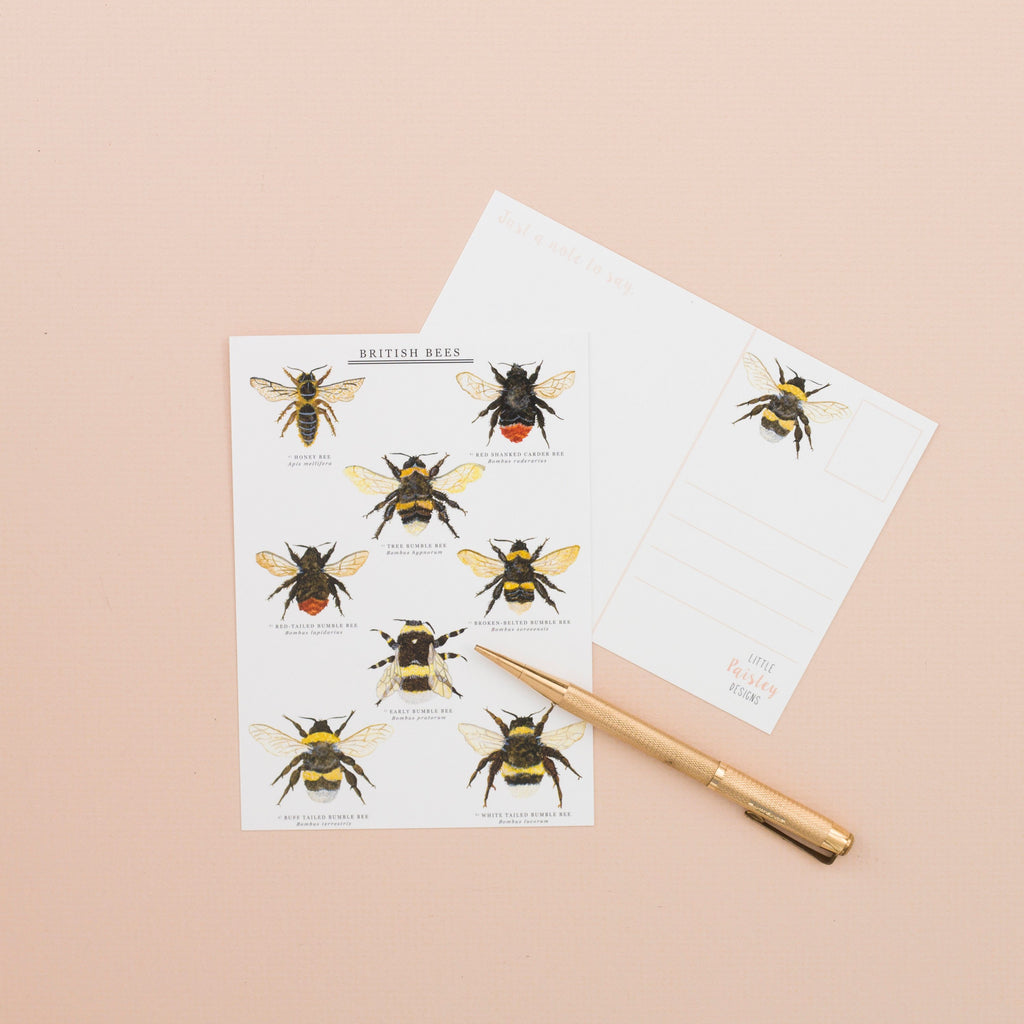 British Bees A6 Postcard