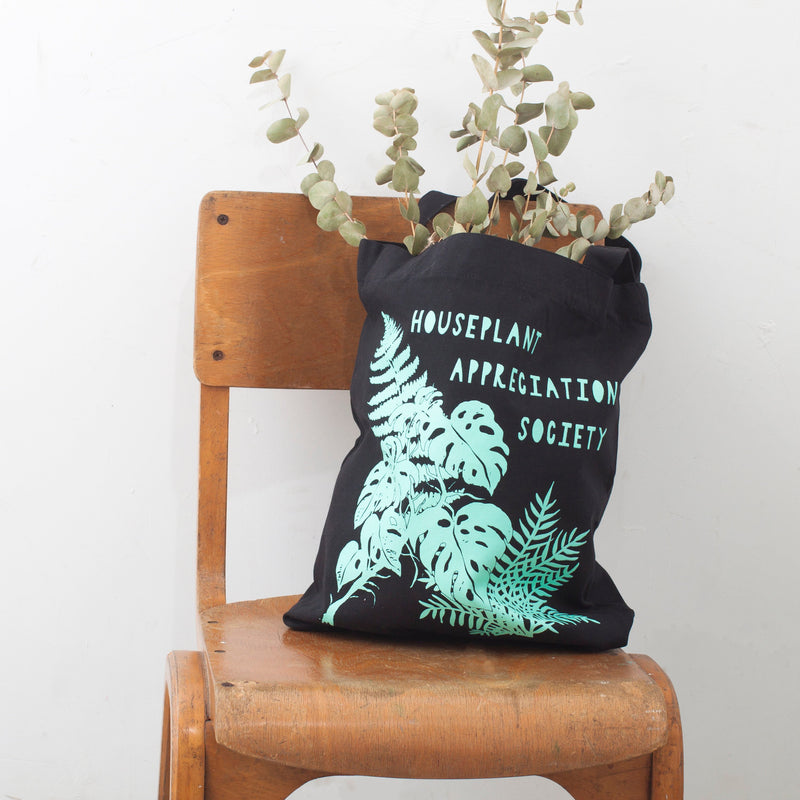 Houseplant Appreciation Society Recycled Tote Bag - Black