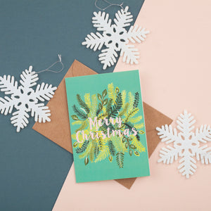 Merry Christmas Foliage Pattern Card - A6