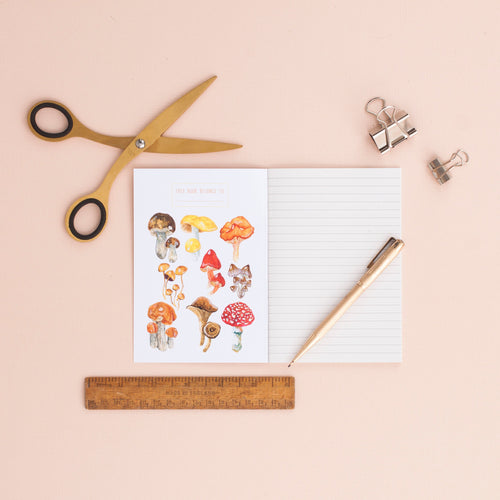 Mushrooms & Toadstools Print A6 Notebook