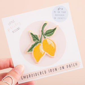 Lemons Embroidered Iron-on Patch