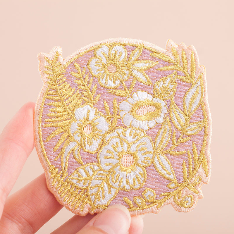 Lilac Flowers Embroidered Iron-on Patch