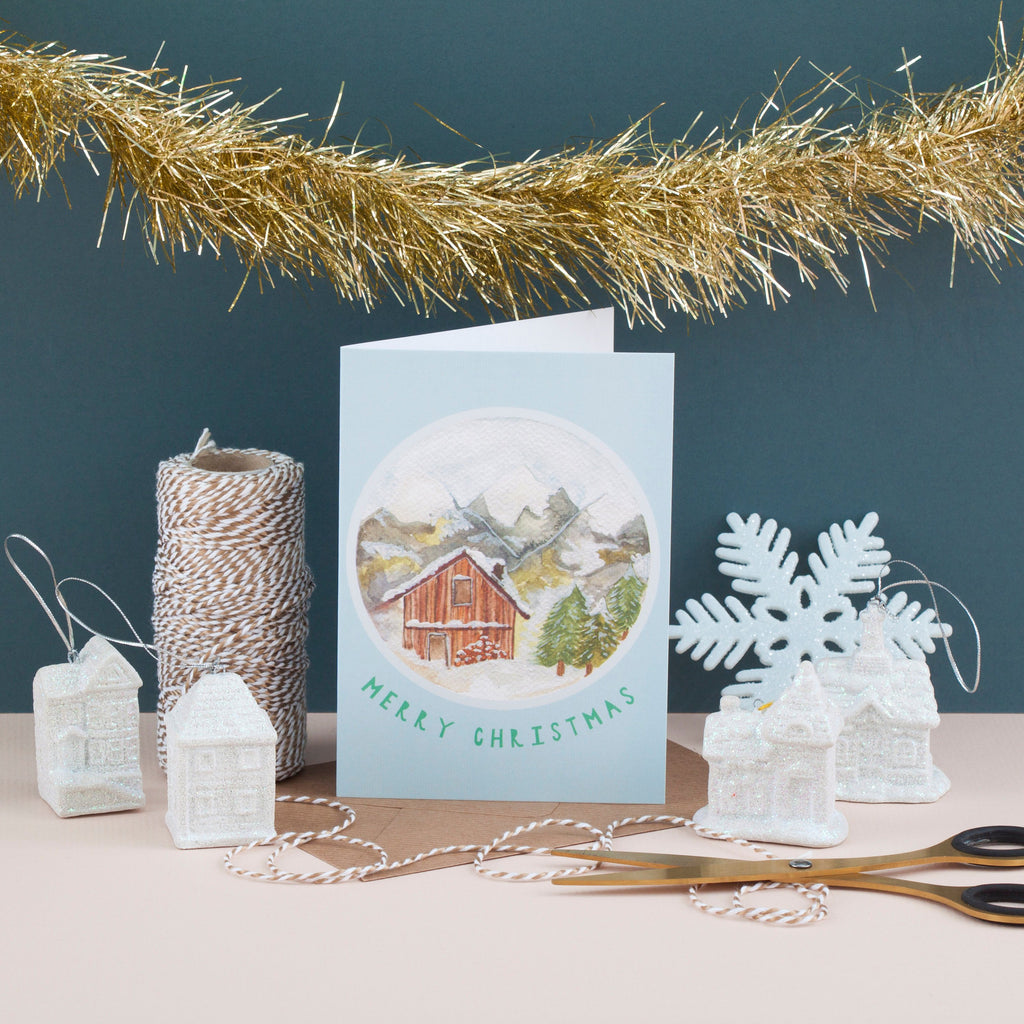 Snowy Cabin Christmas Cards - Pack of 4