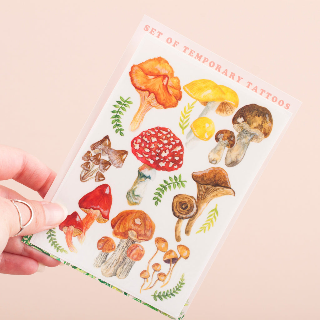 Mushroom & Toadstool Temporary Tattoo Pack