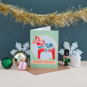 Dala Horse Christmas Card - Pack of 4