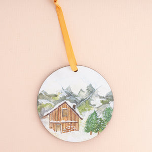 Snowy Cabin Wooden Christmas Decoration