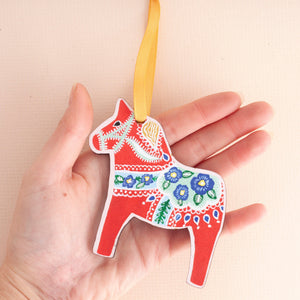 Dala Horse Laser-Cut Wooden Christmas Decoration