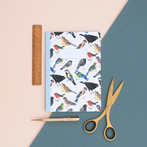 British Garden Birds Pattern A5 Notebook