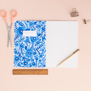 Blue Floral Pattern A5 Notebook