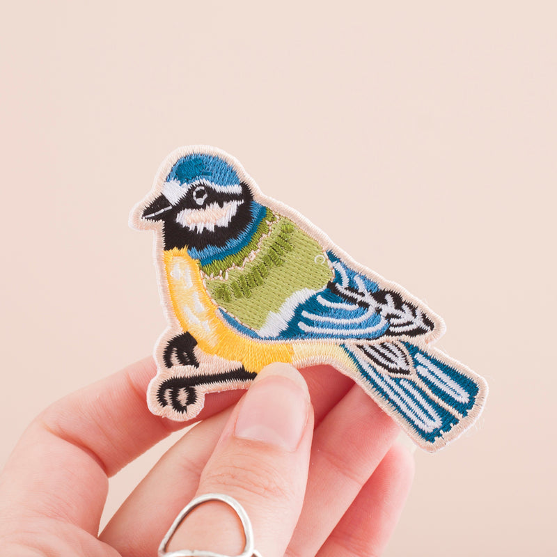 Bluetit Bird Embroidered Iron-on Patch
