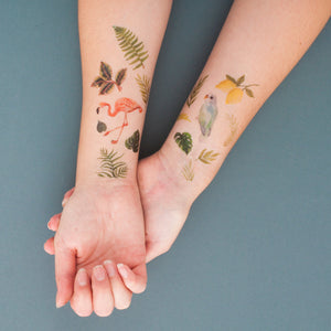 Tropical Bird and Leaf Temporary Tattoos Pack