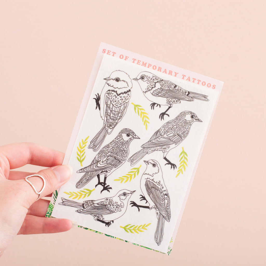 Black & White Bird Illustration Temporary Tattoo Pack