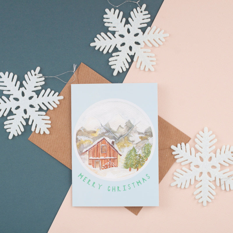 Snowy Cabin Christmas Card