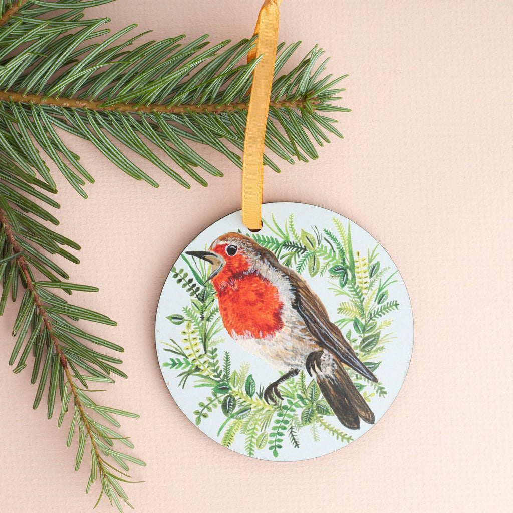 Robin Wreath Wooden Christmas Decoration