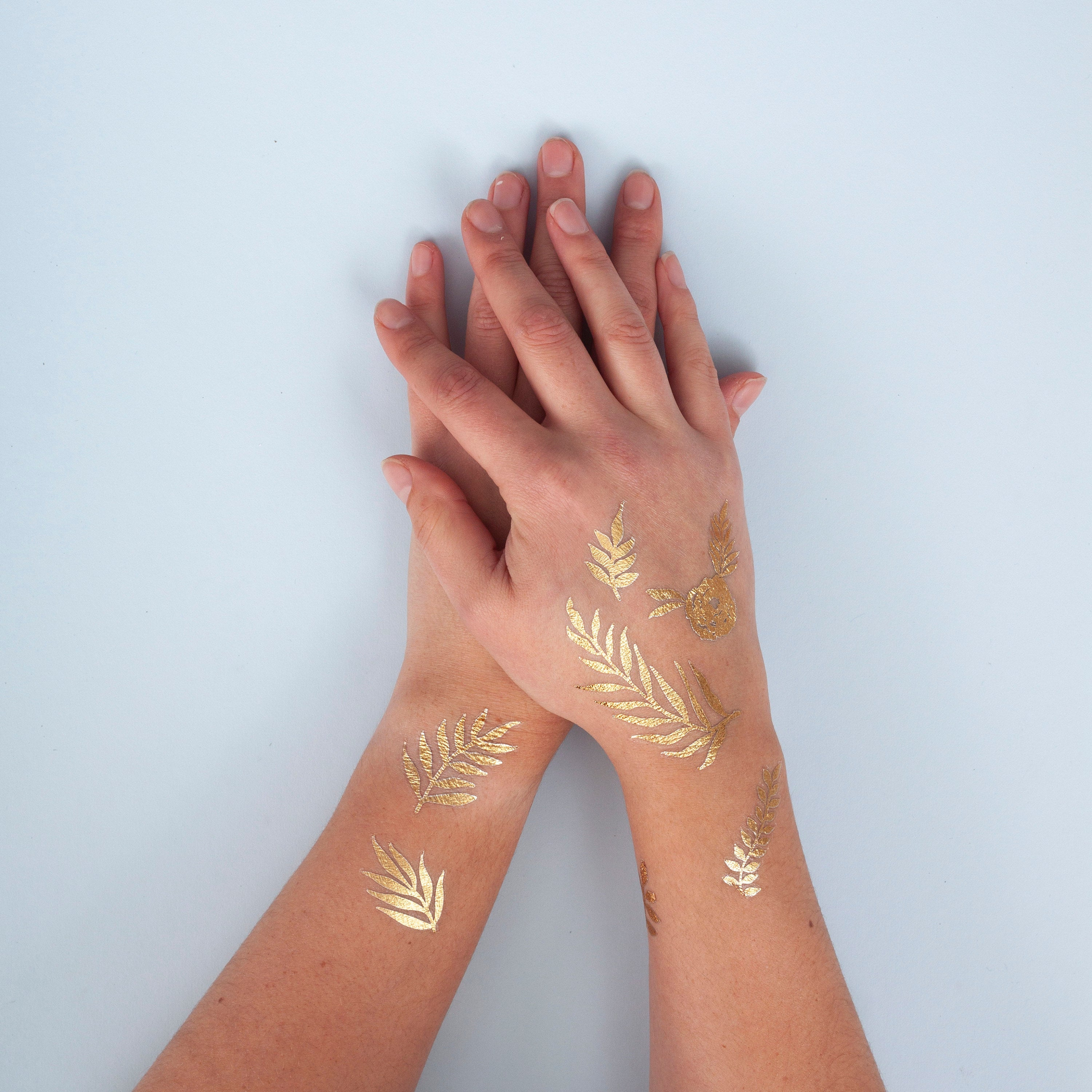 Gold Foil Botanical Bee Temporary Tattoos
