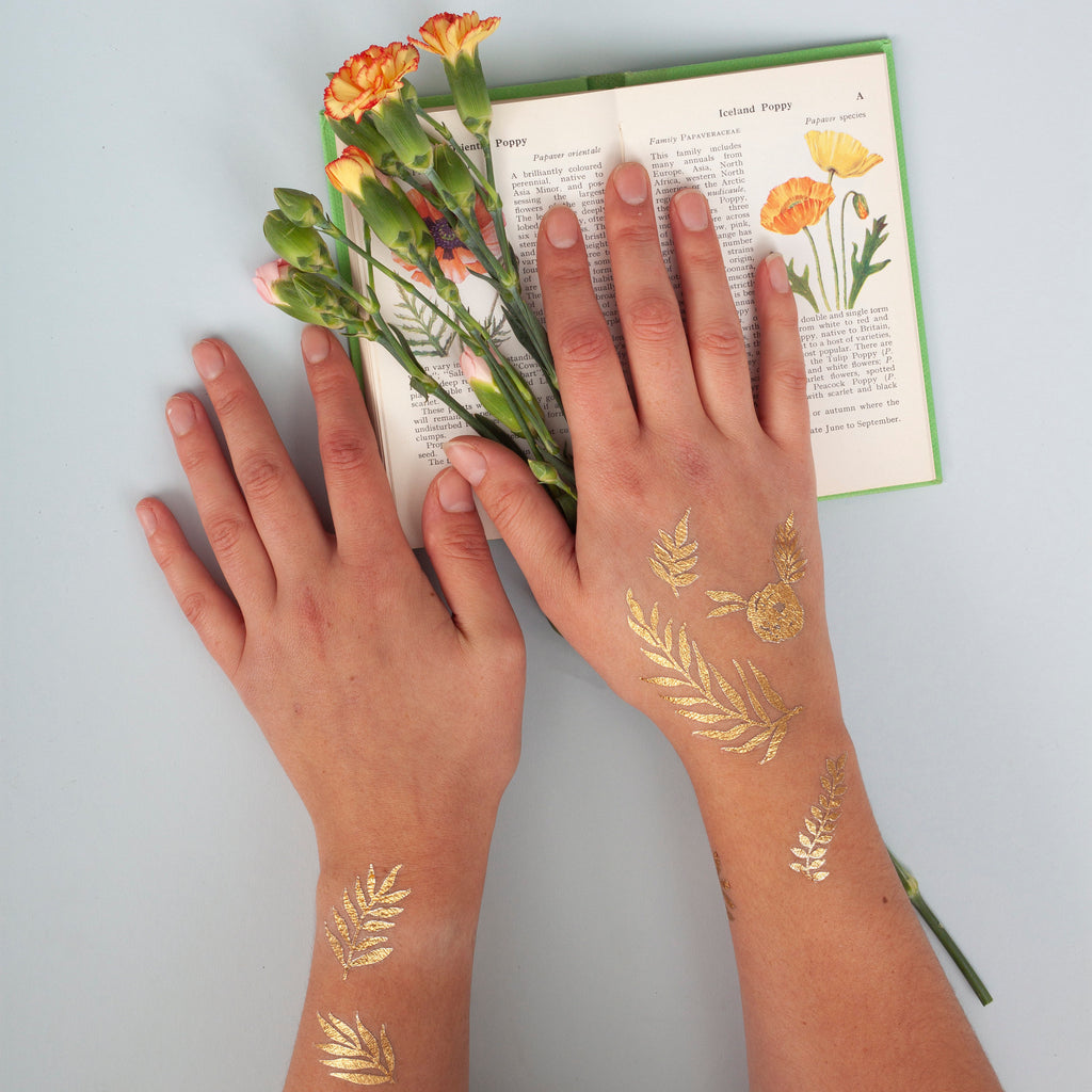 Gold Metallic Flower Bee and Leaf Temporary Tattoos