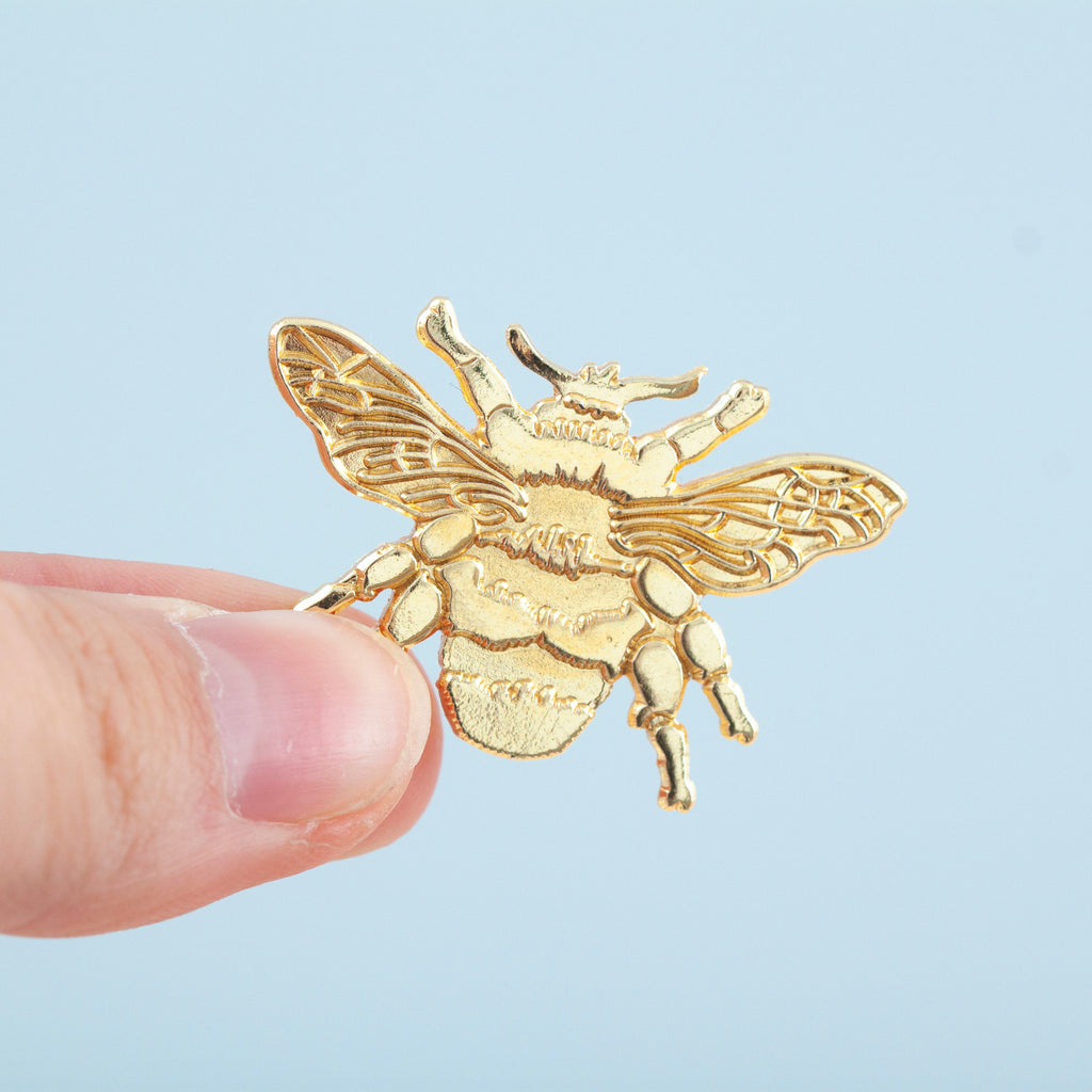 Bee Gold Die Struck Brooch