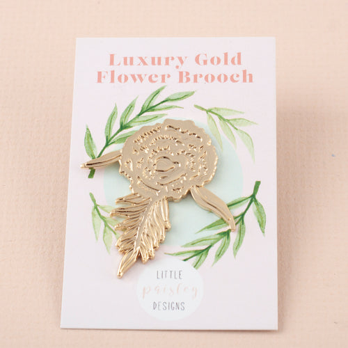 Flower Gold Die Struck Brooch