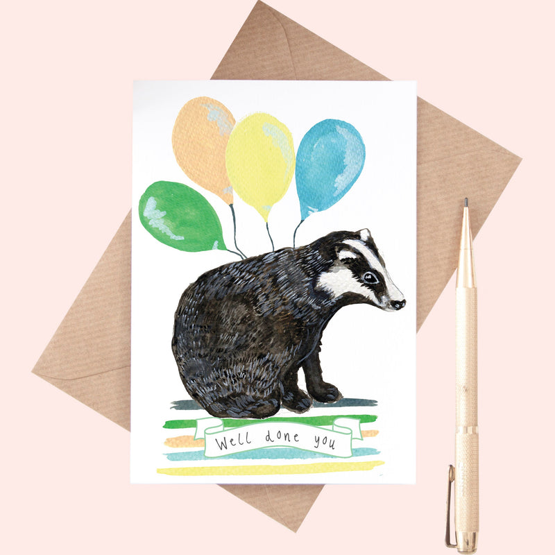 "Badger ""Well Done You"" A6 Greeting Card"