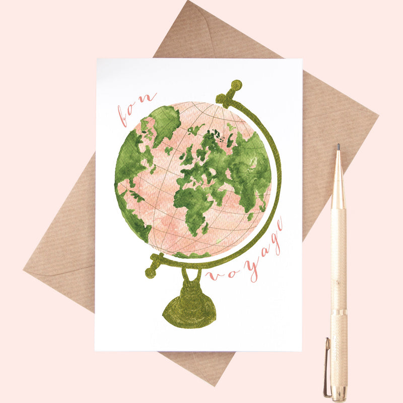 Bon Voyage Globe Illustration A6 Greeting Card