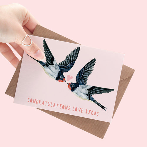 Swallow Pair Lovers A6 Greeting Card