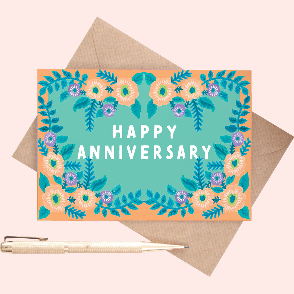 Folky Floral Anniversary Greeting Card