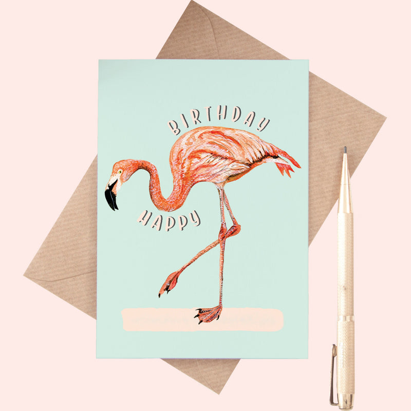 Flamingo Happy Birthday A6 Greeting Card