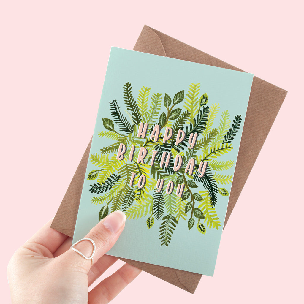 Fern Print Blue Happy Birthday A6 Greeting Card