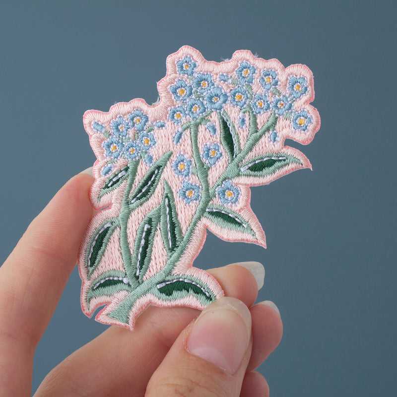 Forget Me Not Flower Embroidered Iron-on Patch