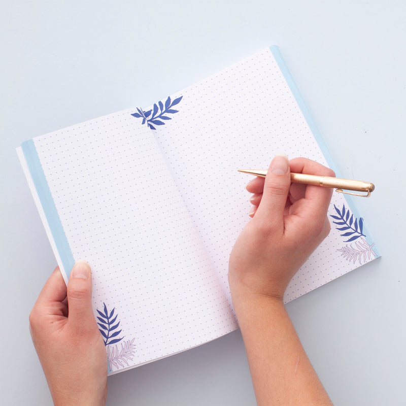 Blue Leaf Pattern Notebook - A5 100 Page Journal