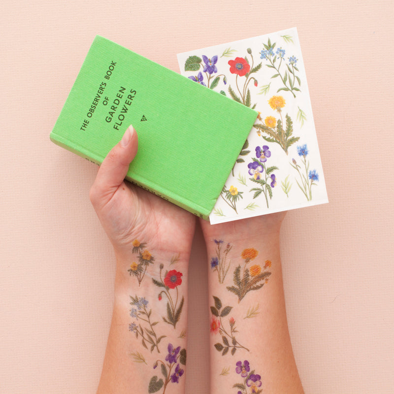 Garden Flower Temporary Tattoo Pack