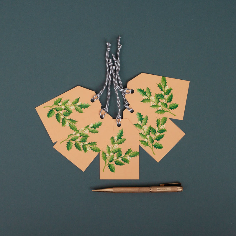 Holly Sprig Christmas Gift Tag - Pack of 5
