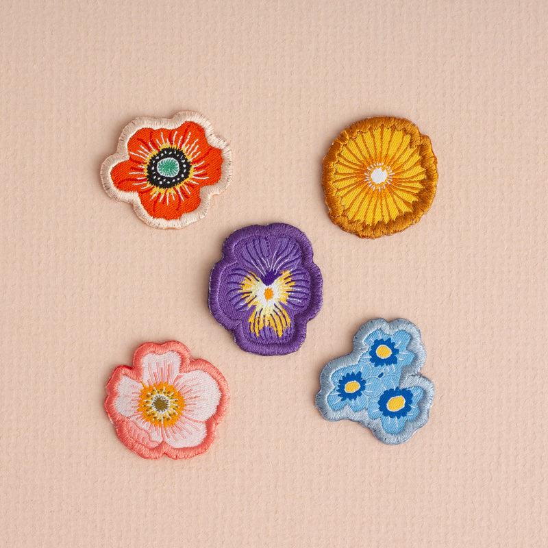 Wild Flower Woven Iron On Patches - Pack of 5