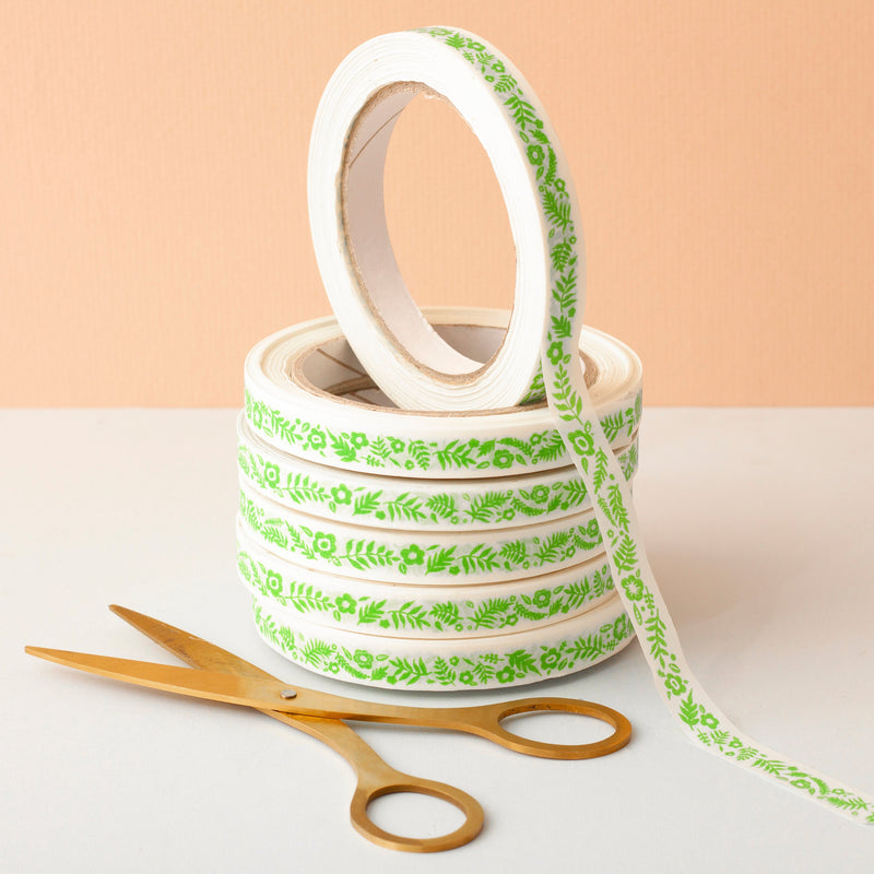 Leafy Pattern Paper Tape - 12.5mm Tape 50m Roll