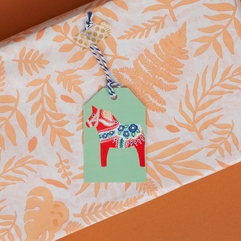 Dala Horse Christmas Gift Tag - Pack of 5