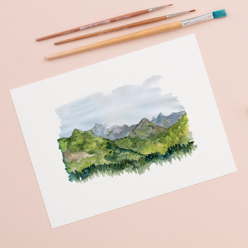 Alpine Mountain Scene Illustration Giclée Print - 18 x 24 cm