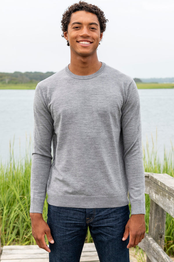 Men's Kadiri Merino Sweater in Light Grey Melange