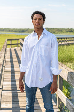Classic Oxford Satin Weave Long Sleeve Shirt in White