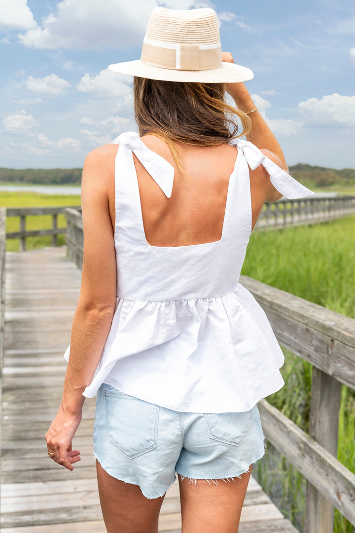 Ribes Cotton V-Neck Peplum Shirt in White