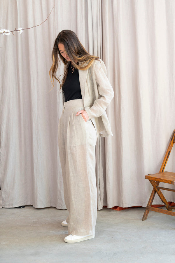 Sohag Wide Leg Organic Light Linen Pant in Beige