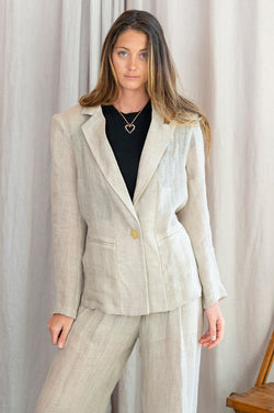 Tima Organic Light Linen Blazer in Beige