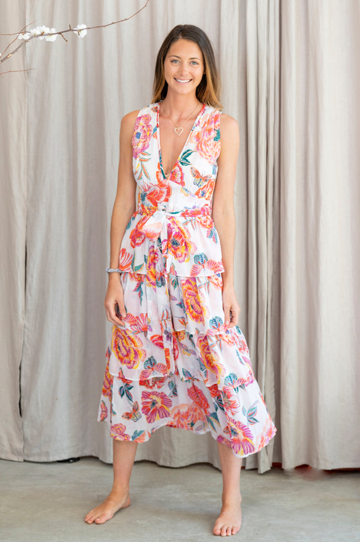 Eliza Cotton Crepe Tie Waist Dress in White Poppy