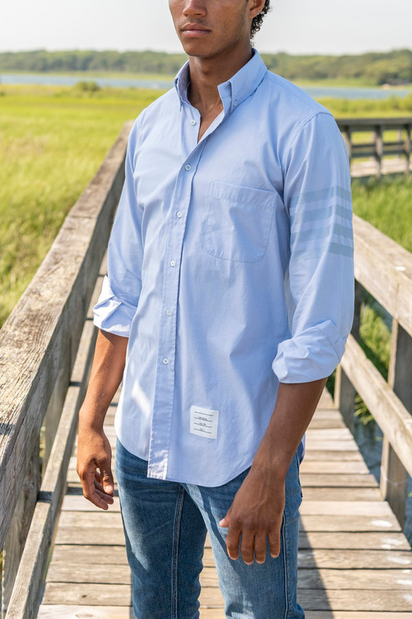 Classic Oxford Satin Weave Long Sleeve Shirt in Light Blue